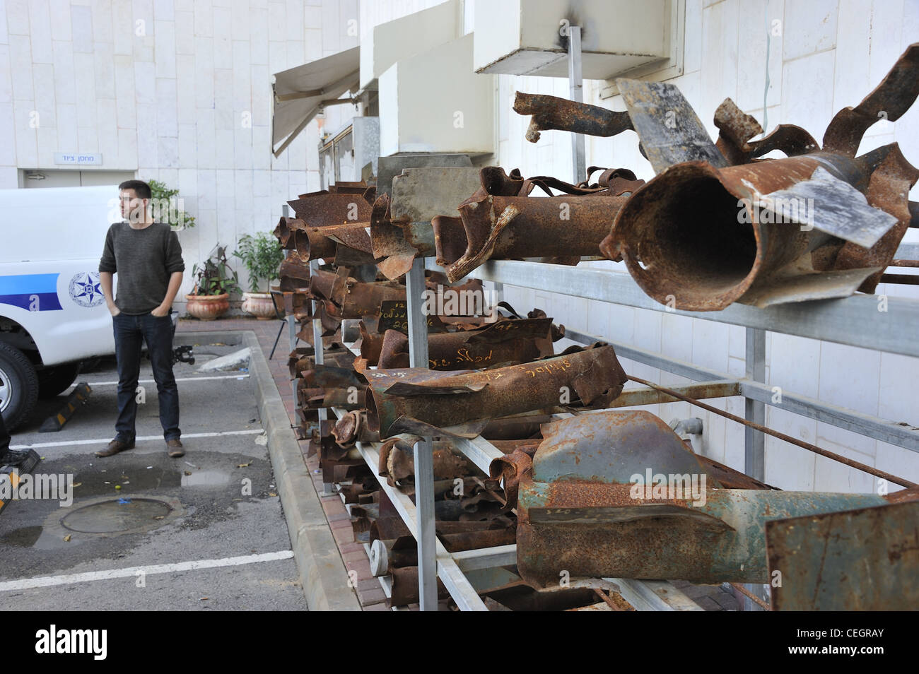 Remnants of exploded Qassam rockets that were fired from the Gaza Strip at Israel. - Stock Image