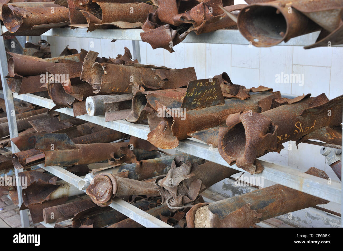 Remains of several rocket sent from Gaza strip at the city of Sderot in Israel - Stock Image