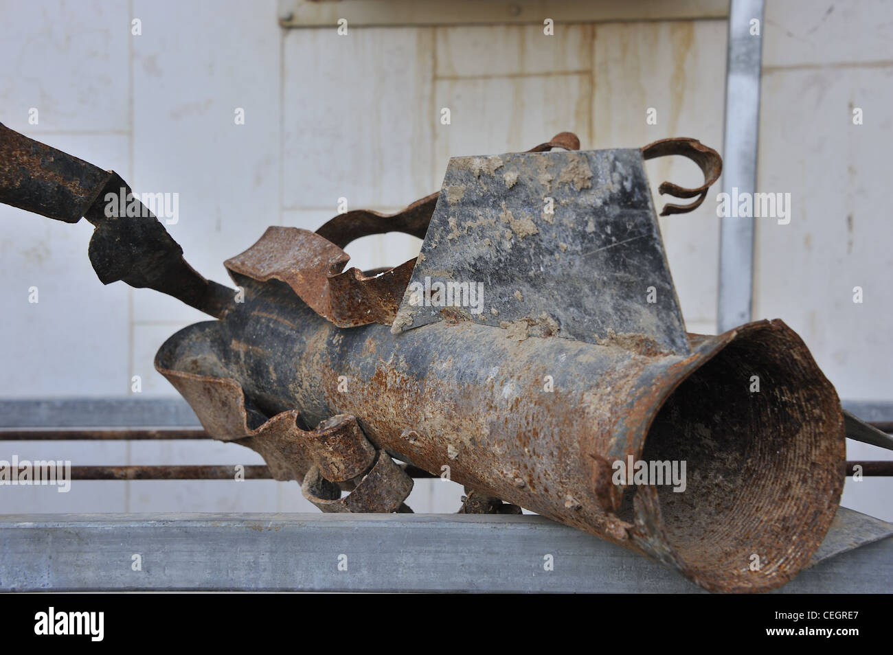 Remains of a rocket sent from Gaza strip at the city of Sderot in Israel - Stock Image