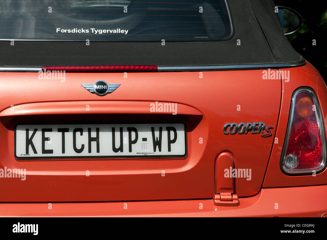 Special car number plate Ketch Up on a Mini Cooper seen in Western Province South Africa - Stock Image