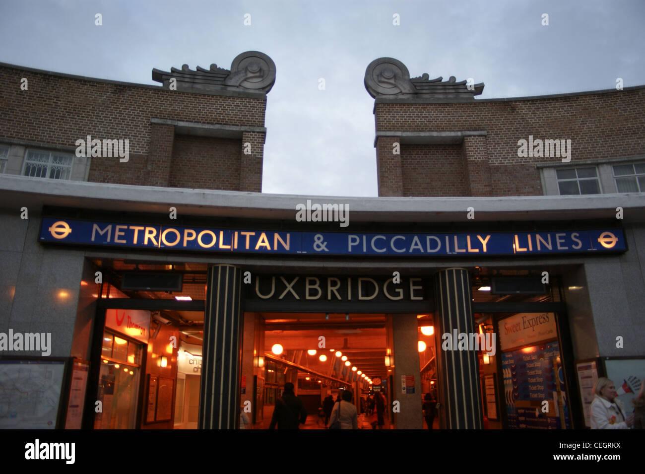 Art Deco exterior of Uxbridge Underground (Tube) station on the Metropolitan Line,  Middlesex, London, England, - Stock Image