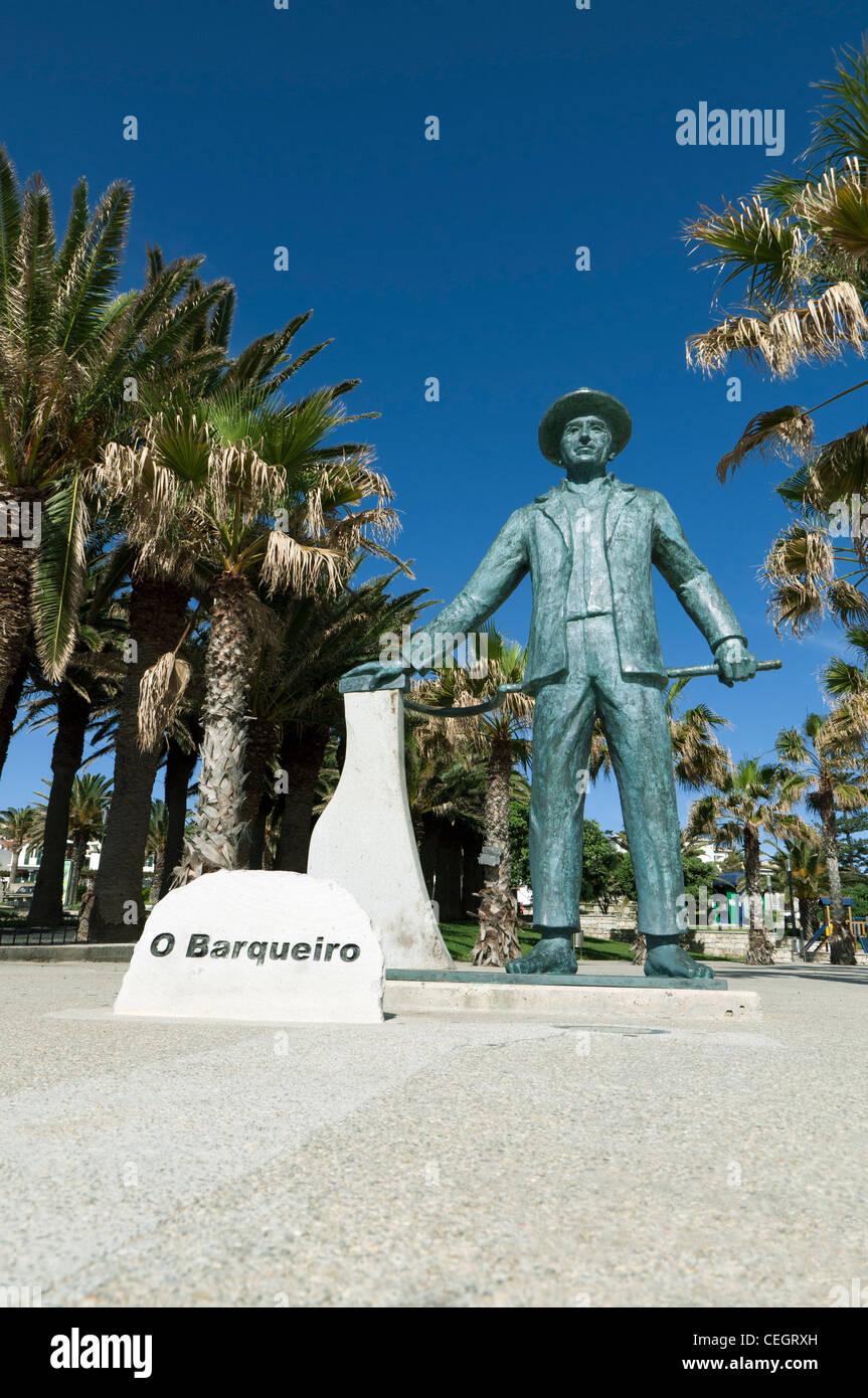Statue O Barqueiro, on Porto Santo Island, Portugal - Stock Image