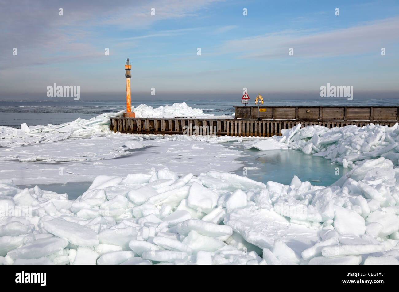 An extremely cold spell with hard frost and onshore wind has packed the ice in  the Øresund or Oresund sound - Stock Image