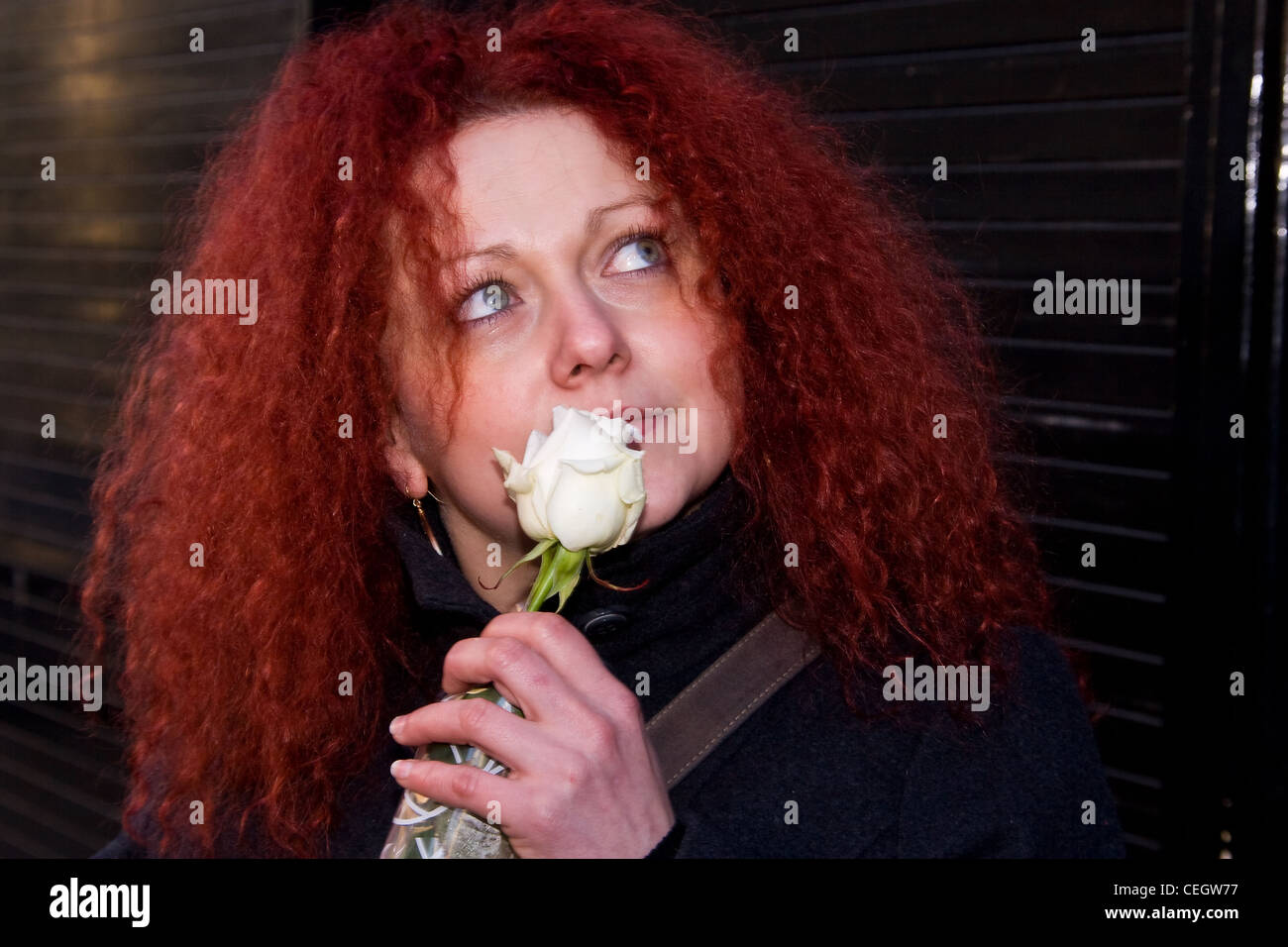 Beautiful woman with red hair holding a white Rose to her face outside a florist shop in Dundee, UK Stock Photo