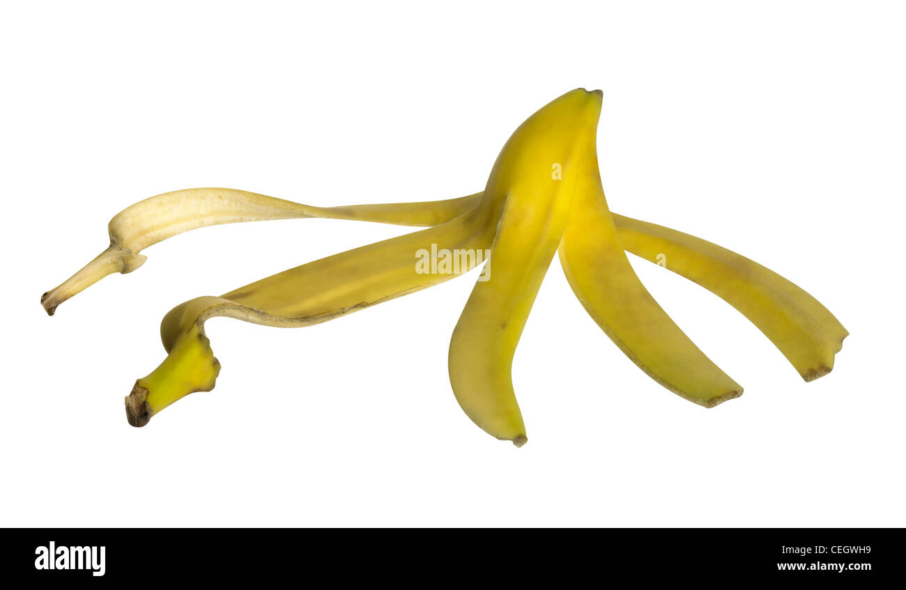 studio photography of a spread banana peel isolated on white, with clipping path - Stock Image