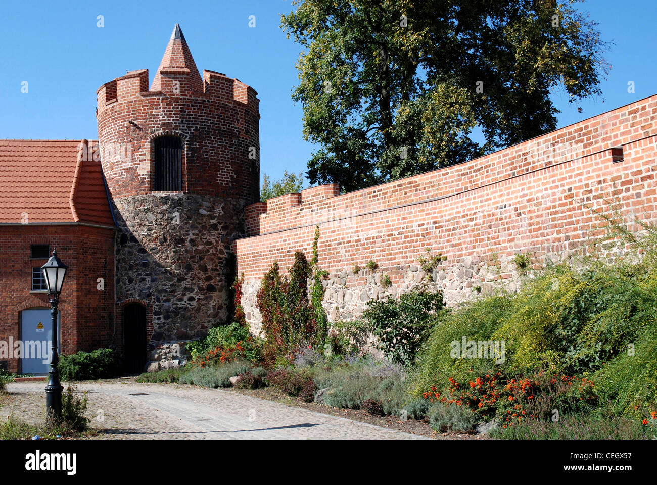 City wall with defence tower of Beeskow in Brandenburg. - Stock Image