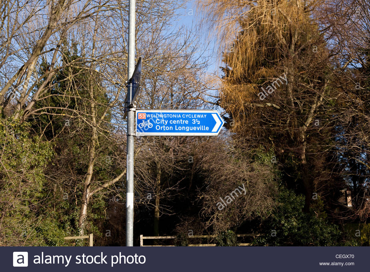 Cycleway signpost for the Wellingtonia Cycleway in Peterborough, Cambridgeshire, UK - Stock Image