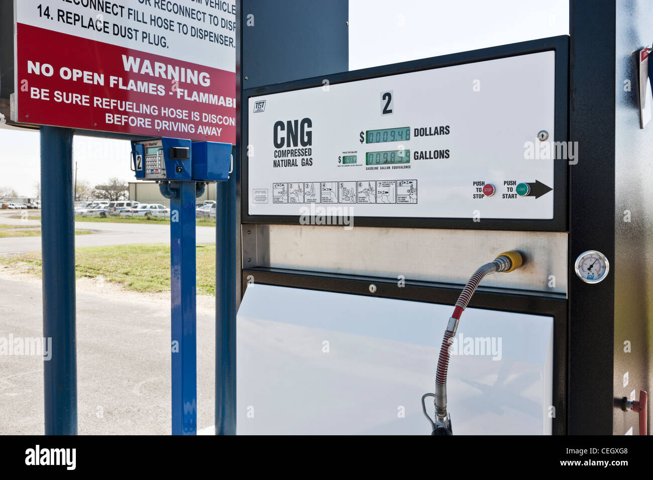 Compressed natural gas fuel pump. - Stock Image