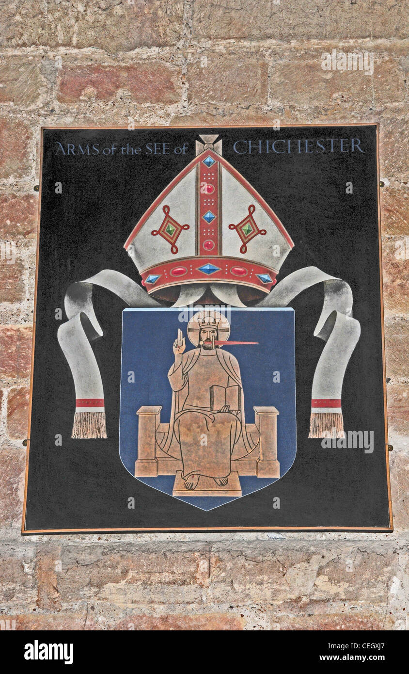 The arms of the Diocese of Chichester with the bishop's mitre superimposed. Chichester Cathedral. - Stock Image
