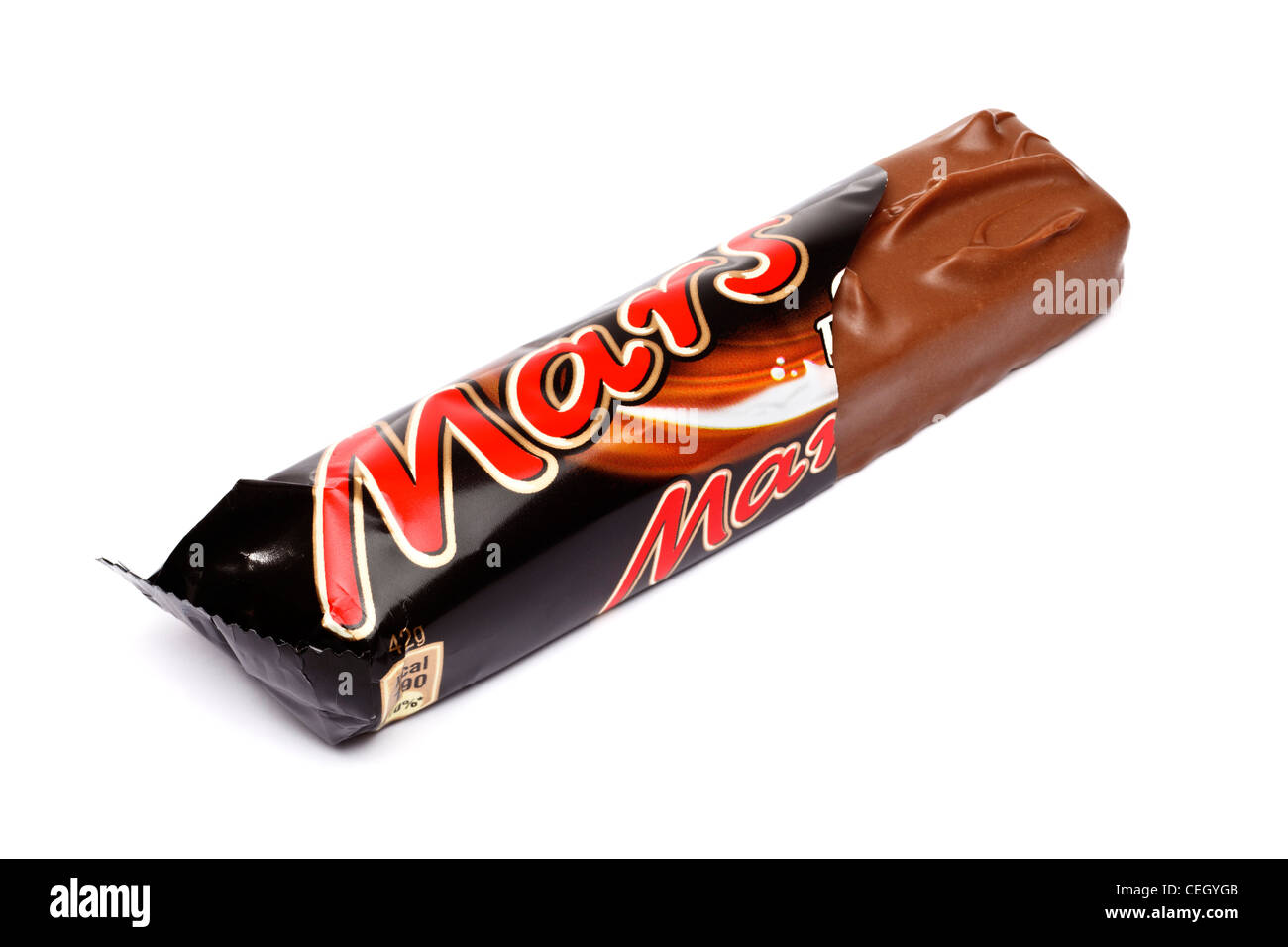 Mars bar in a torn foil wrapper on white background - Stock Image