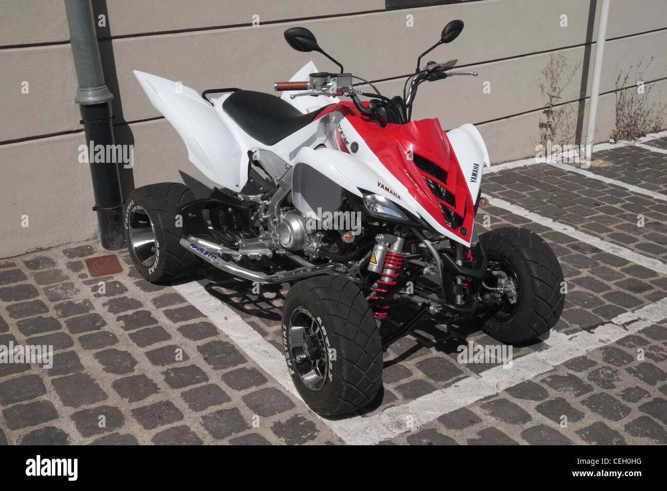 A Yamaha Raptor 700 RT IE All Terrain Vehicle (ATV) in Luxembourg city, the Grand Duchy Luxembourg. - Stock Image
