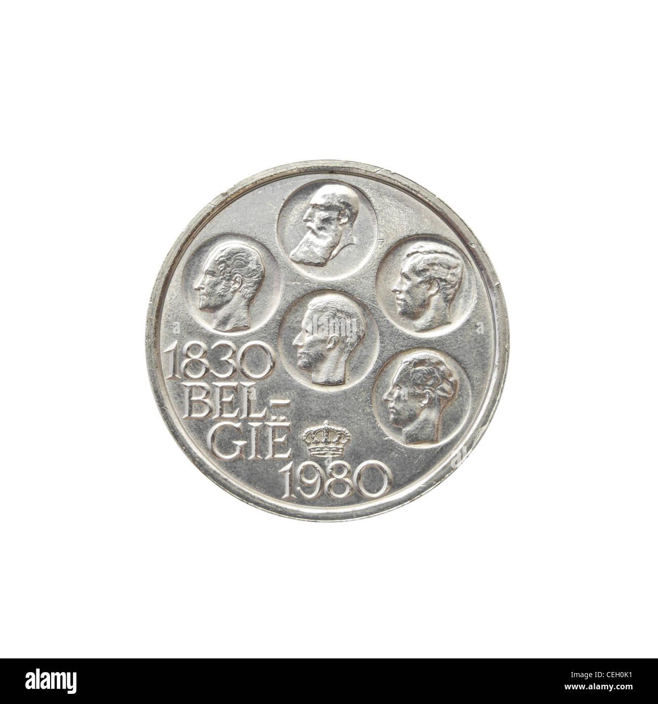Belgian Silver Coin - Stock Image