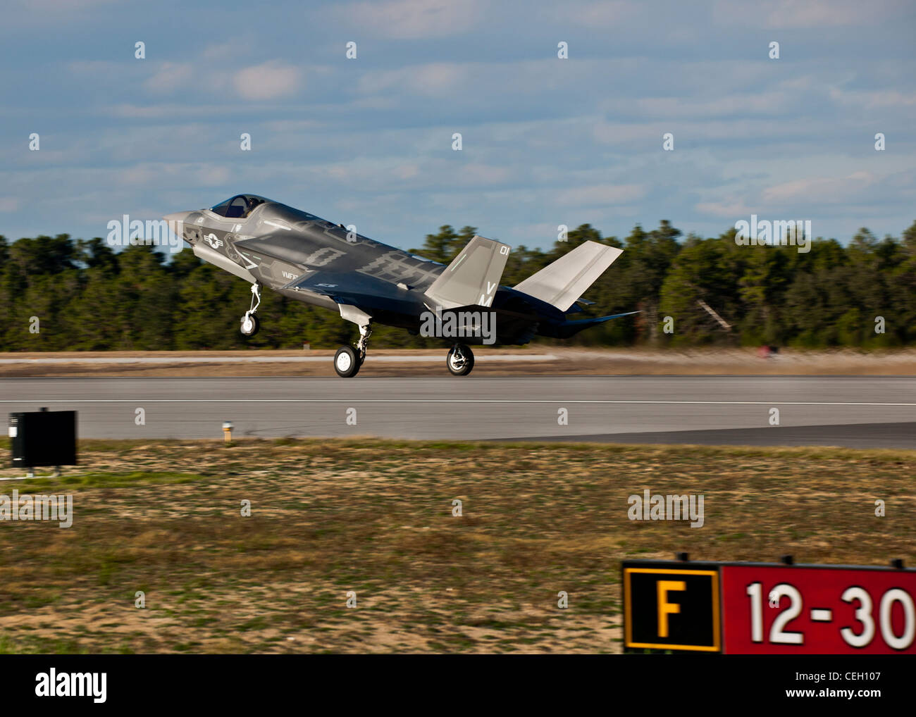 The Marine Corp's newest aircraft, the F-35B Lightning II joint strike fighter touches down at its new home - Stock Image