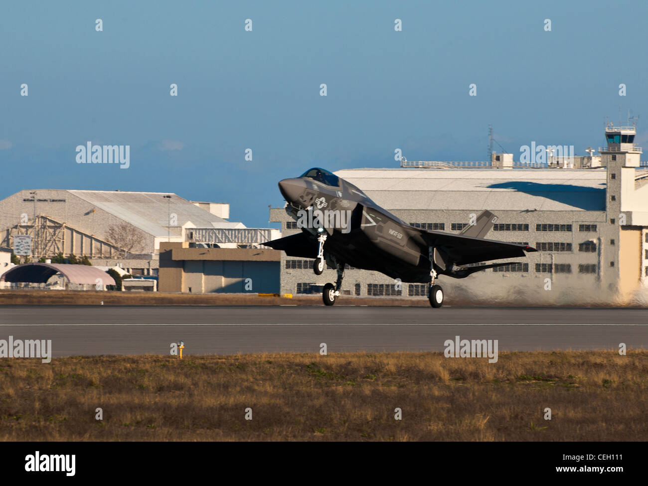 The Marine Corp's newest aircraft, the F-35B Lightning II joint strike fighter, touches down at its new home - Stock Image
