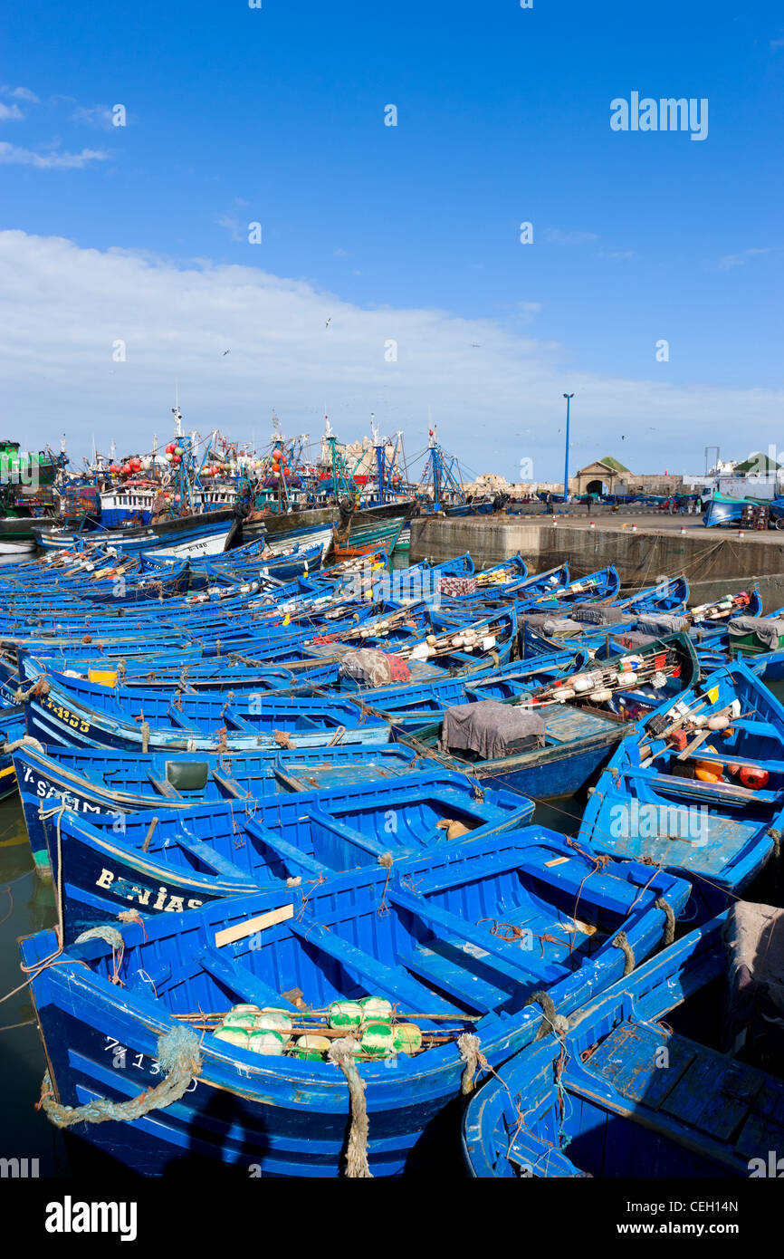 Fishing boats in the harbour at Essaouira, Morocco, North Africa - Stock Image