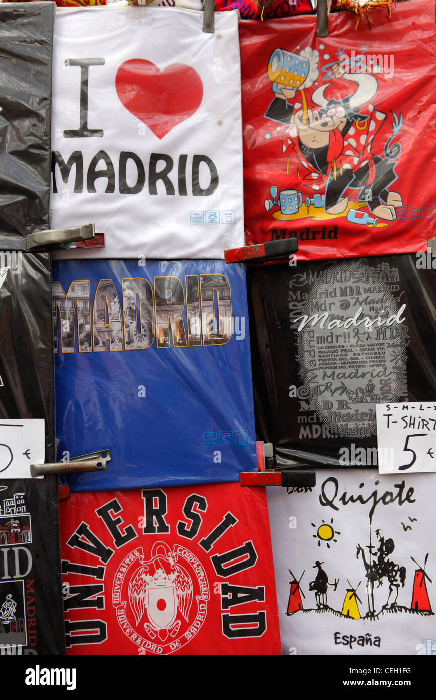 T-shirts souvenirs of Madrid, Spain - Stock Image