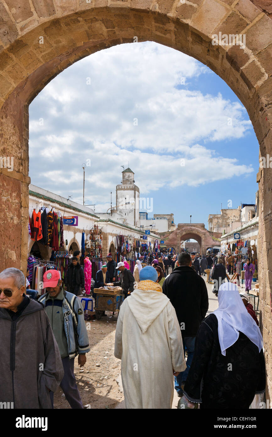 Shops and stalls in the Medina, Avenue de L'Istiqlal, Essaouira, Morocco, North Africa - Stock Image