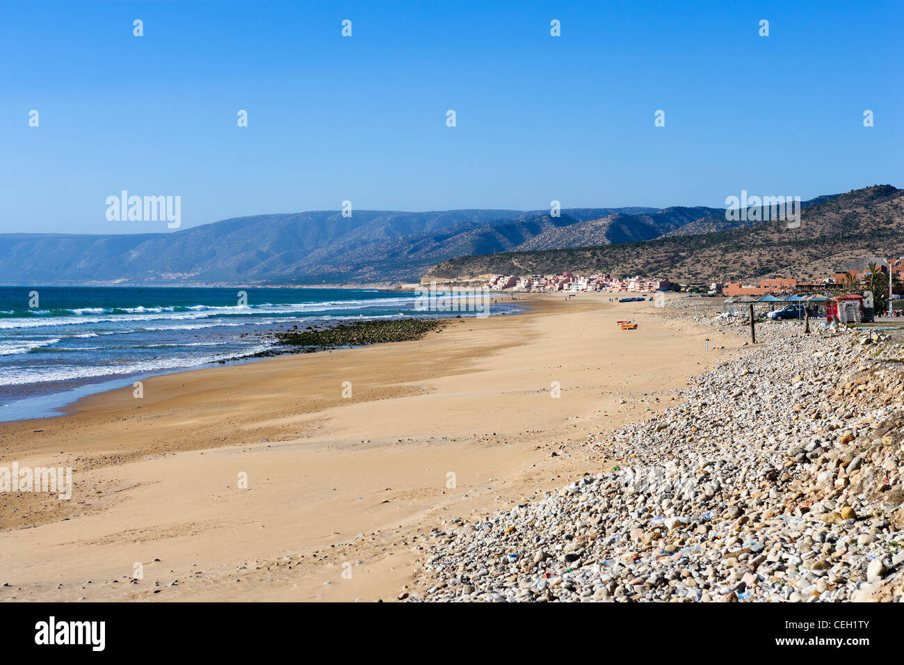 Paradise Plage at Imi Ouaddar north of Taghazout and Agadir, Morocco, North Africa - Stock Image