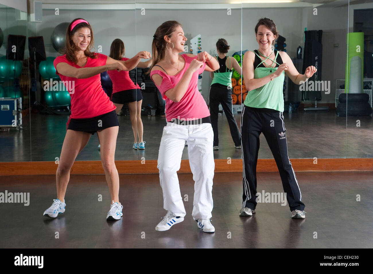 Zumba Studio Stock Photos Images Alamy Dance Steps Diagram Basic Latin American Instructed At A Fitness Class In Uk Image