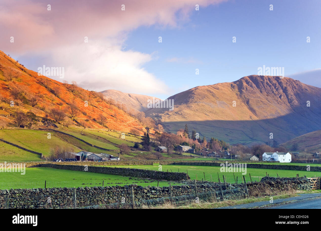 View from Crow Bridge at the foot of Kirkstone Pass in January, to Grey Cragg which which rises above Hartsop Village, - Stock Image