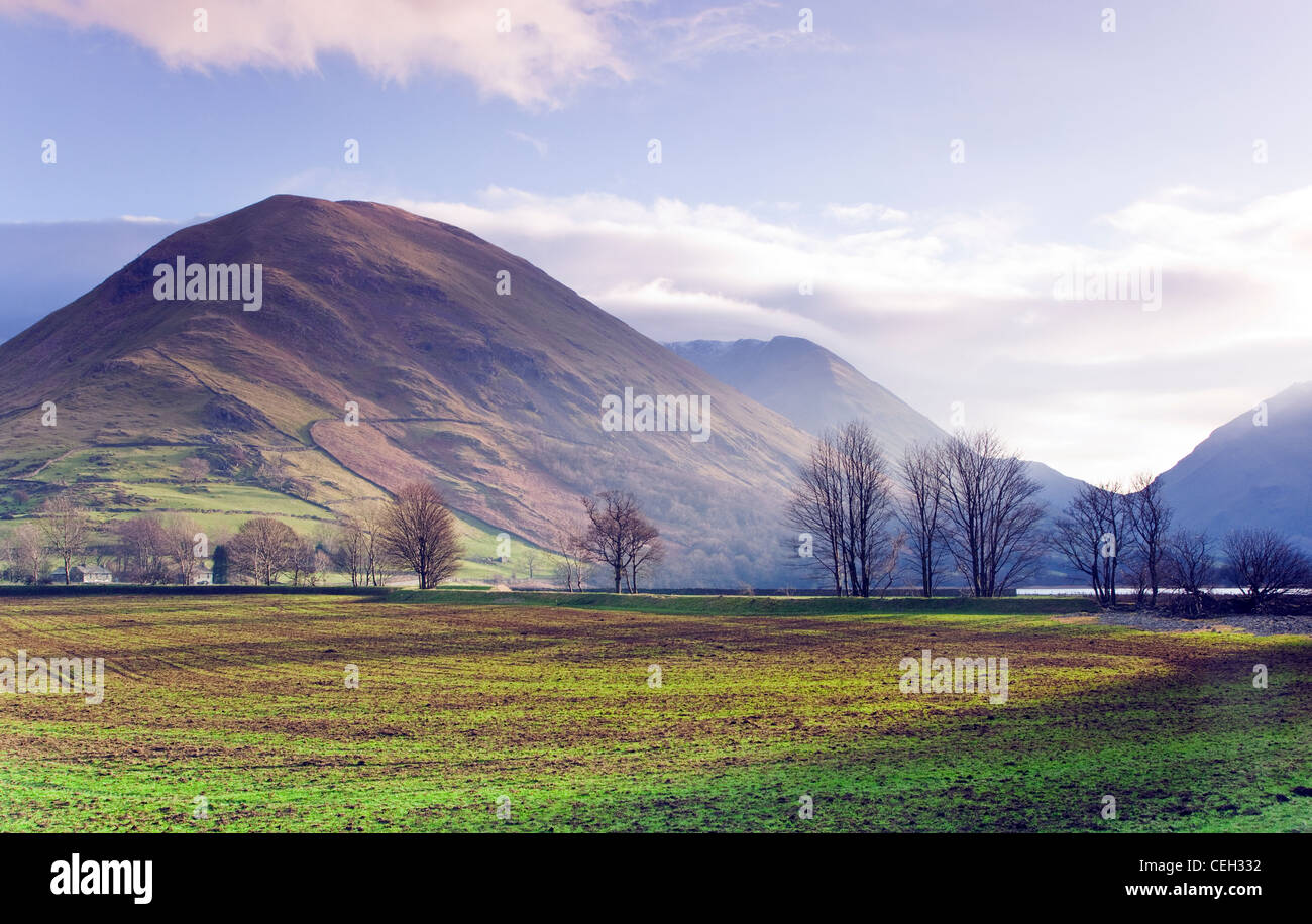 View from Crow Bridge at the foot of Kirkstone Pass in January, to Hartsop Dod which which rises above Hartsop Village, - Stock Image