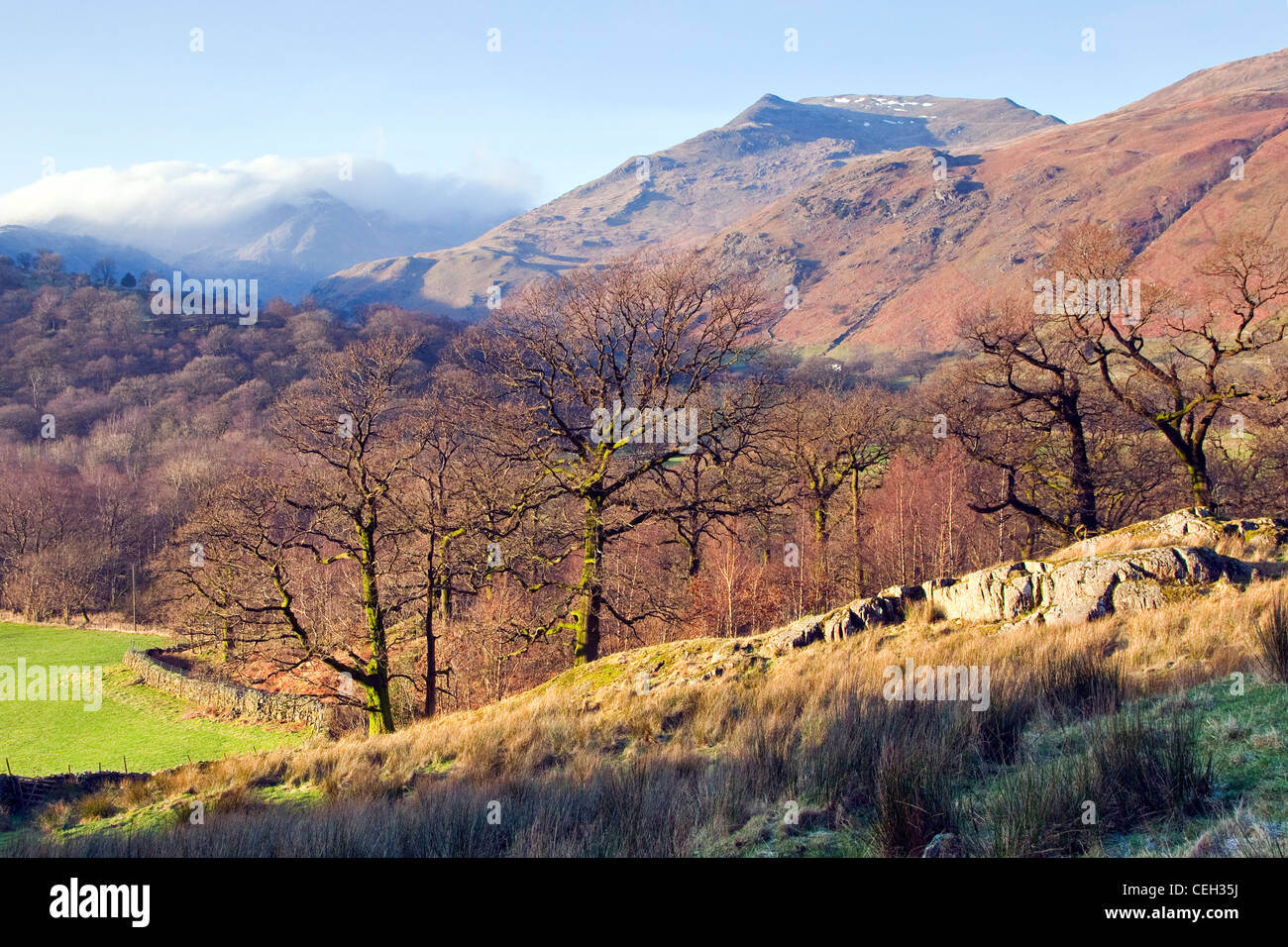 Patterdale Valley floor, looking down from Angle Tarn Fell, January, Patterdale area, Lake District National Park, - Stock Image