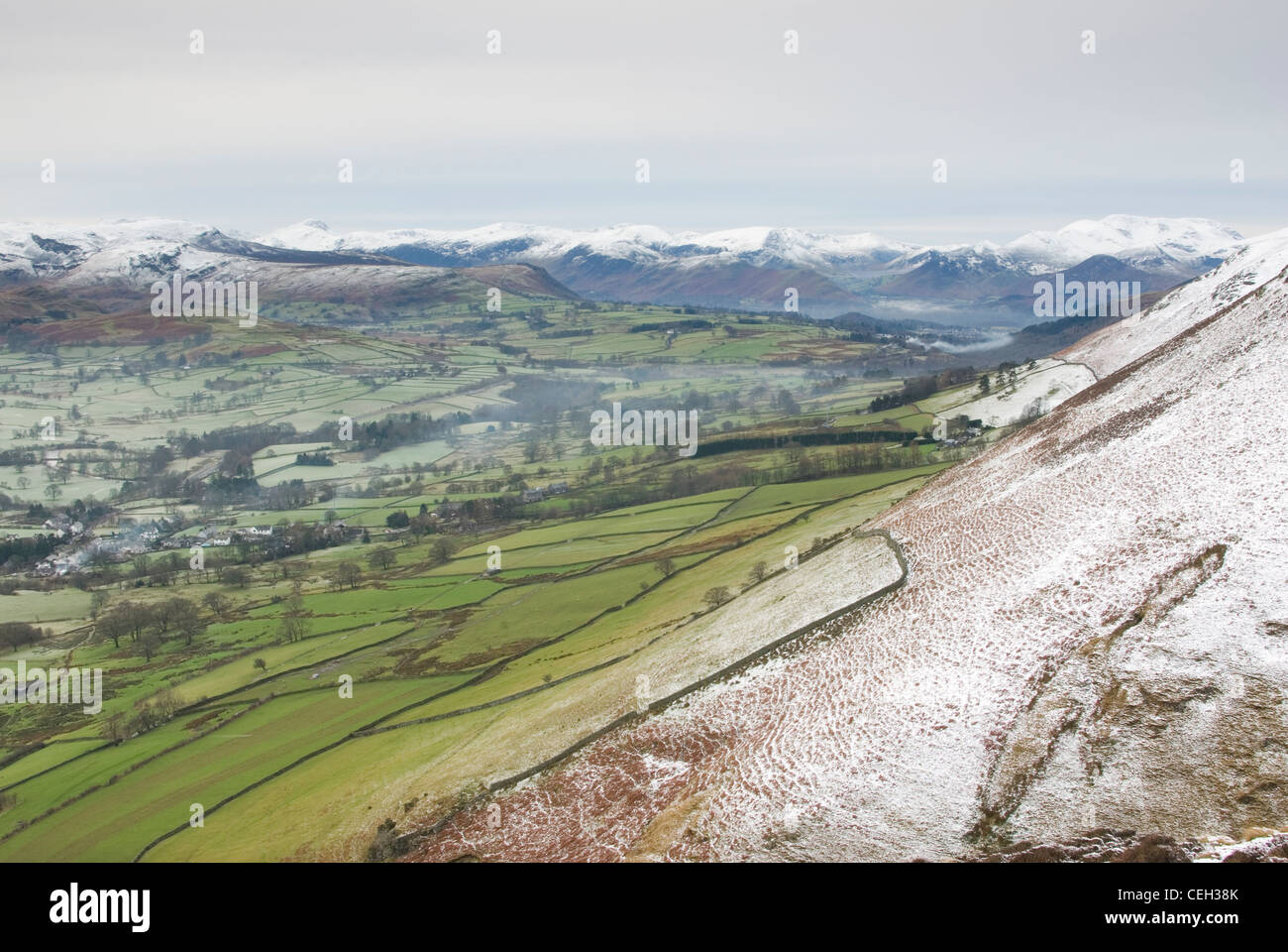 River Glenderamackin Valley from the slopes of Blencathra Stock Photo