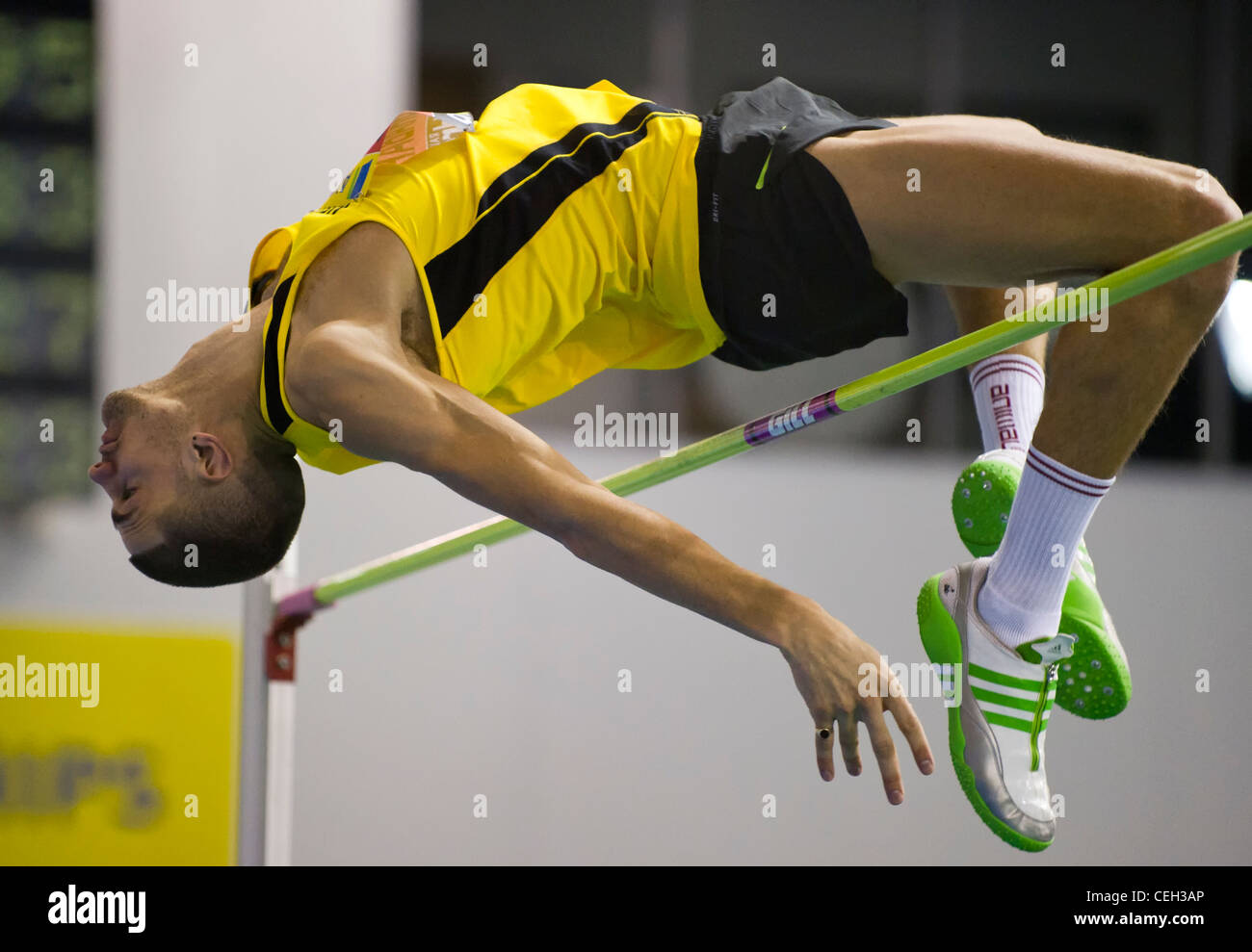 Robbie Krabarz competing in the men's high jump final at the Aviva Indoor UK Trials and Championships - Stock Image