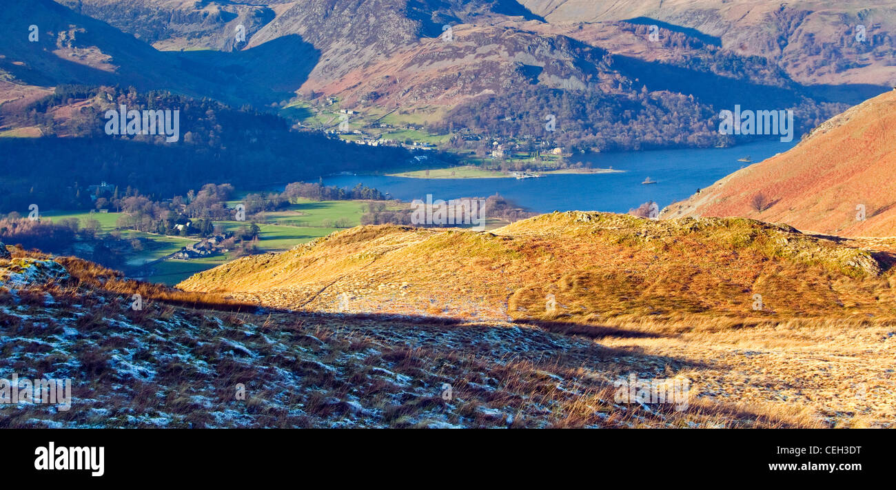 Patterdale and Glenridding and Ullswater Head, looking down from on Angle Tarn Fells, January, Patterdale area, Stock Photo