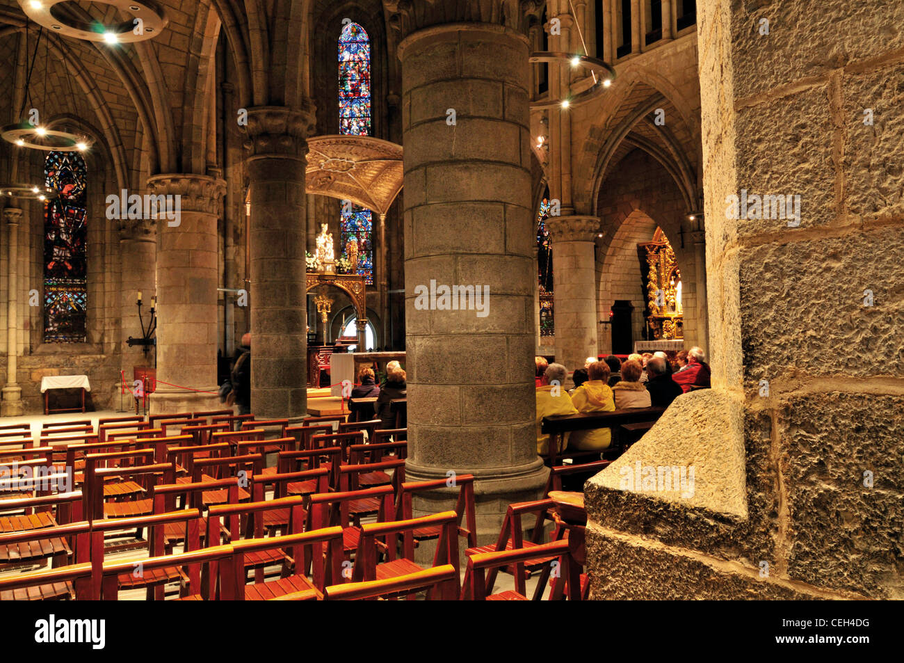 Spain, St. James Way: Pilgrim´s mass at the church La Colegiata de Santa Maria Real in Roncesvalles Stock Photo