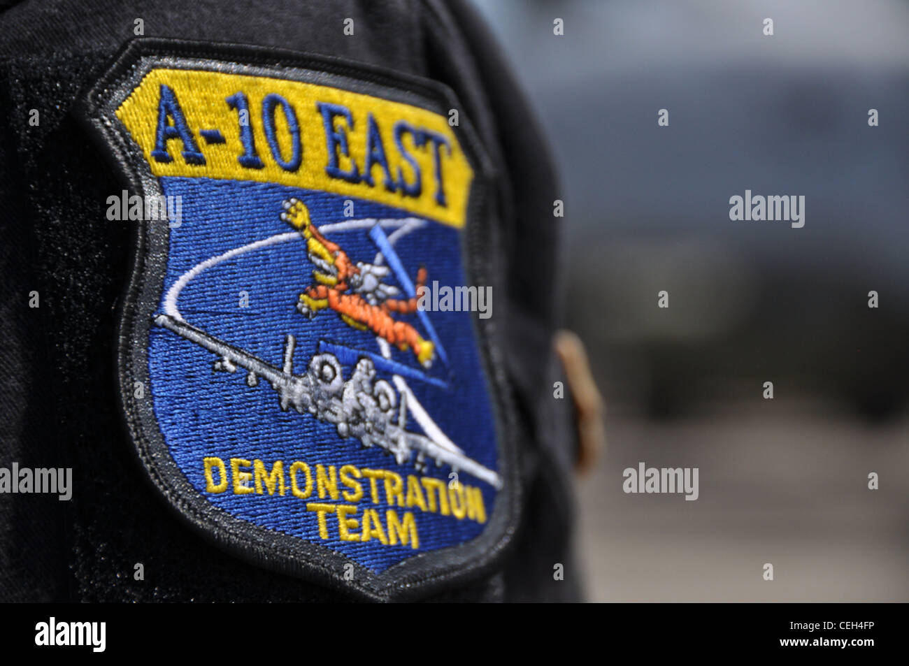 Changi Coast, Singapore - A-10 East Demonstration Team patch is proudly displayed on the shoulder of A-10 Thunderbolt - Stock Image