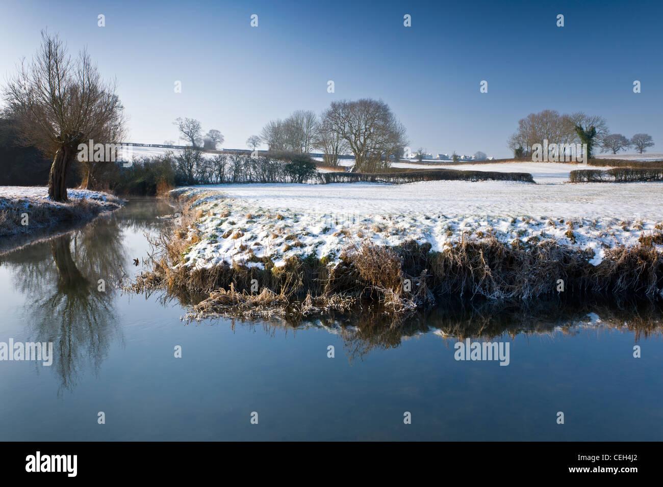 River Avon in Winter - Wiltshire Stock Photo