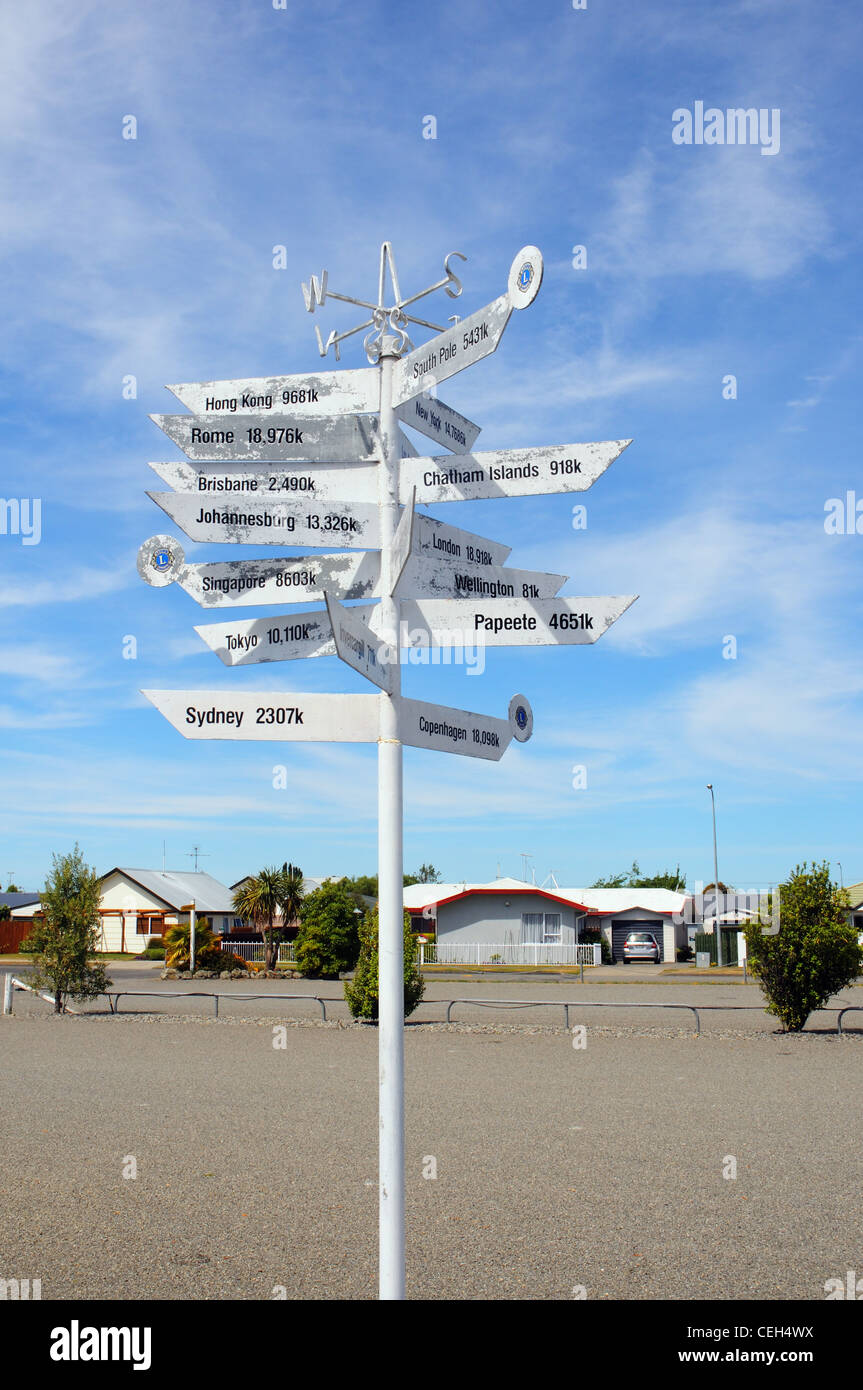 a multi direction signpost showing directions to worldwide cities