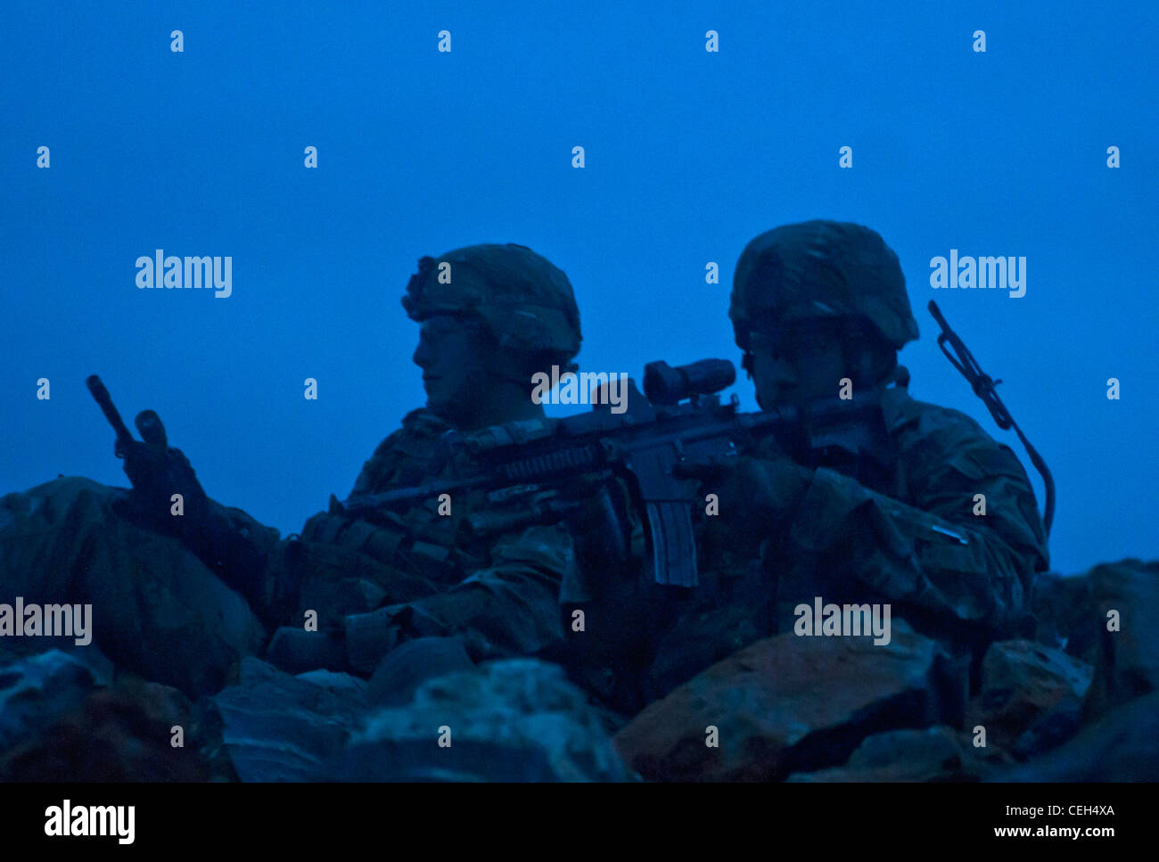 U.S. Army Sgt. Aaron Sweeny, from San Diego, Calif., and Staff Sgt. Robert Novak, from Temple, Texas, with 3rd Platoon, - Stock Image