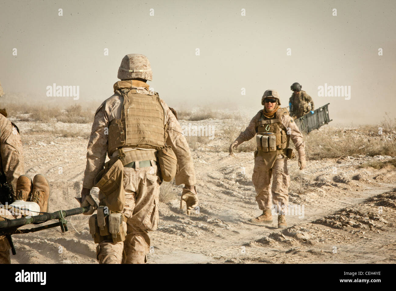 Petty Officer Third Class Michael Soto, the corpsman for Bridge Platoon, Alpha Company, 9th Engineer Support Battalion, - Stock Image
