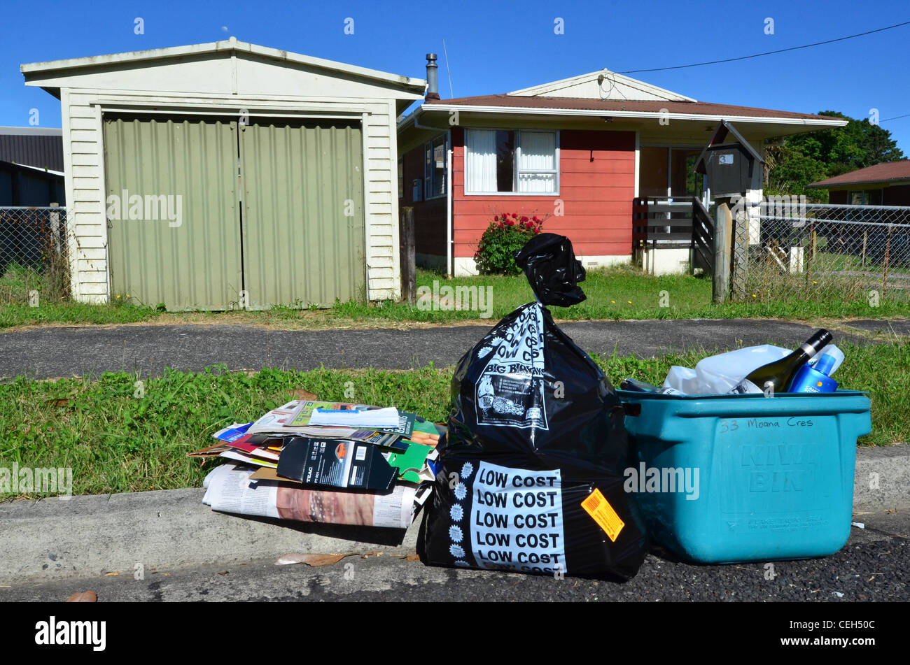 Recycling day in a small town. - Stock Image