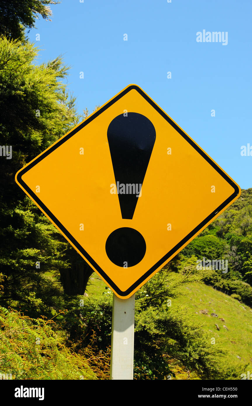 An exclamation mark roadsign - Stock Image