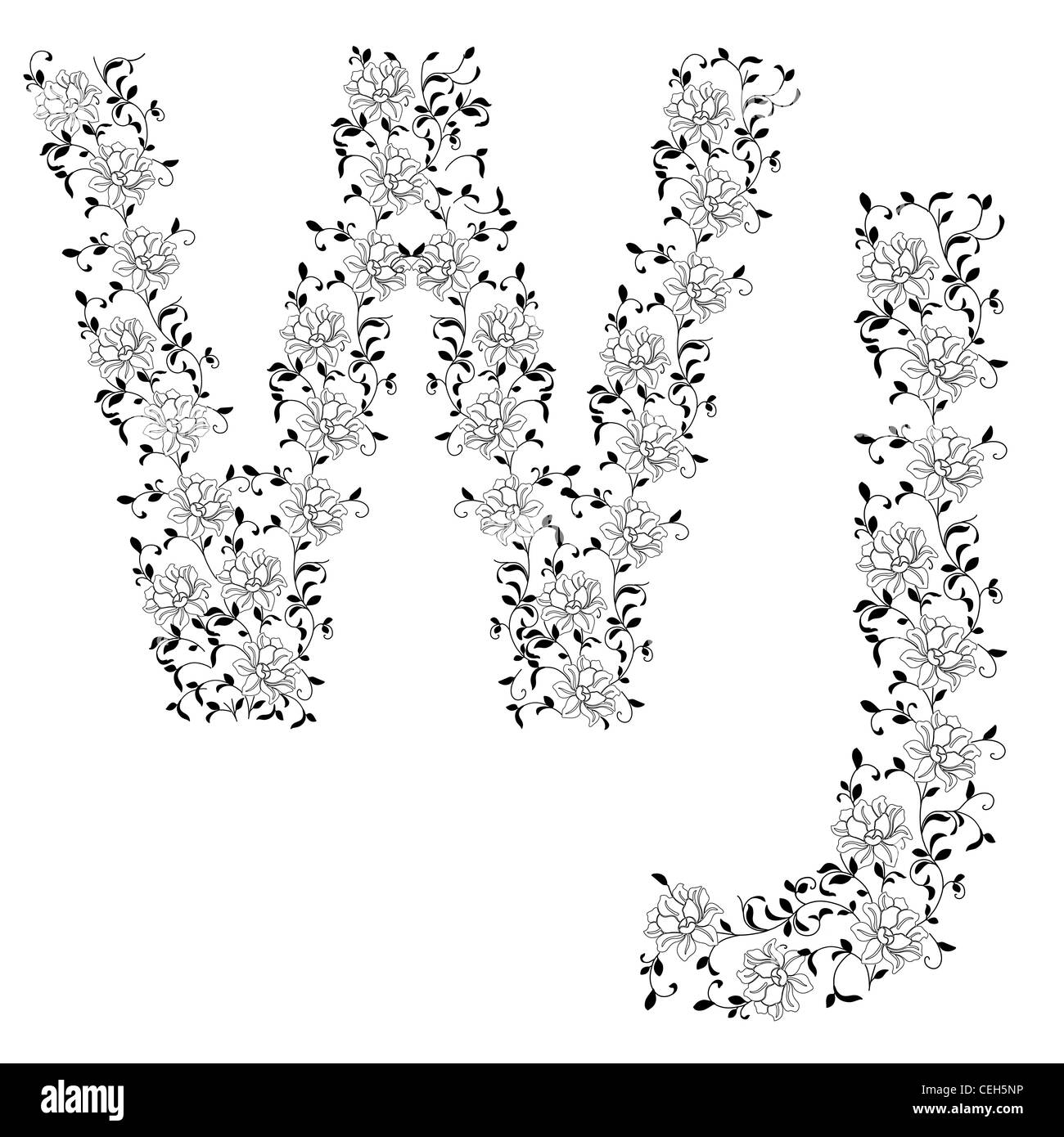 Hand drawing ornamental alphabet. Letter WJ - Stock Image