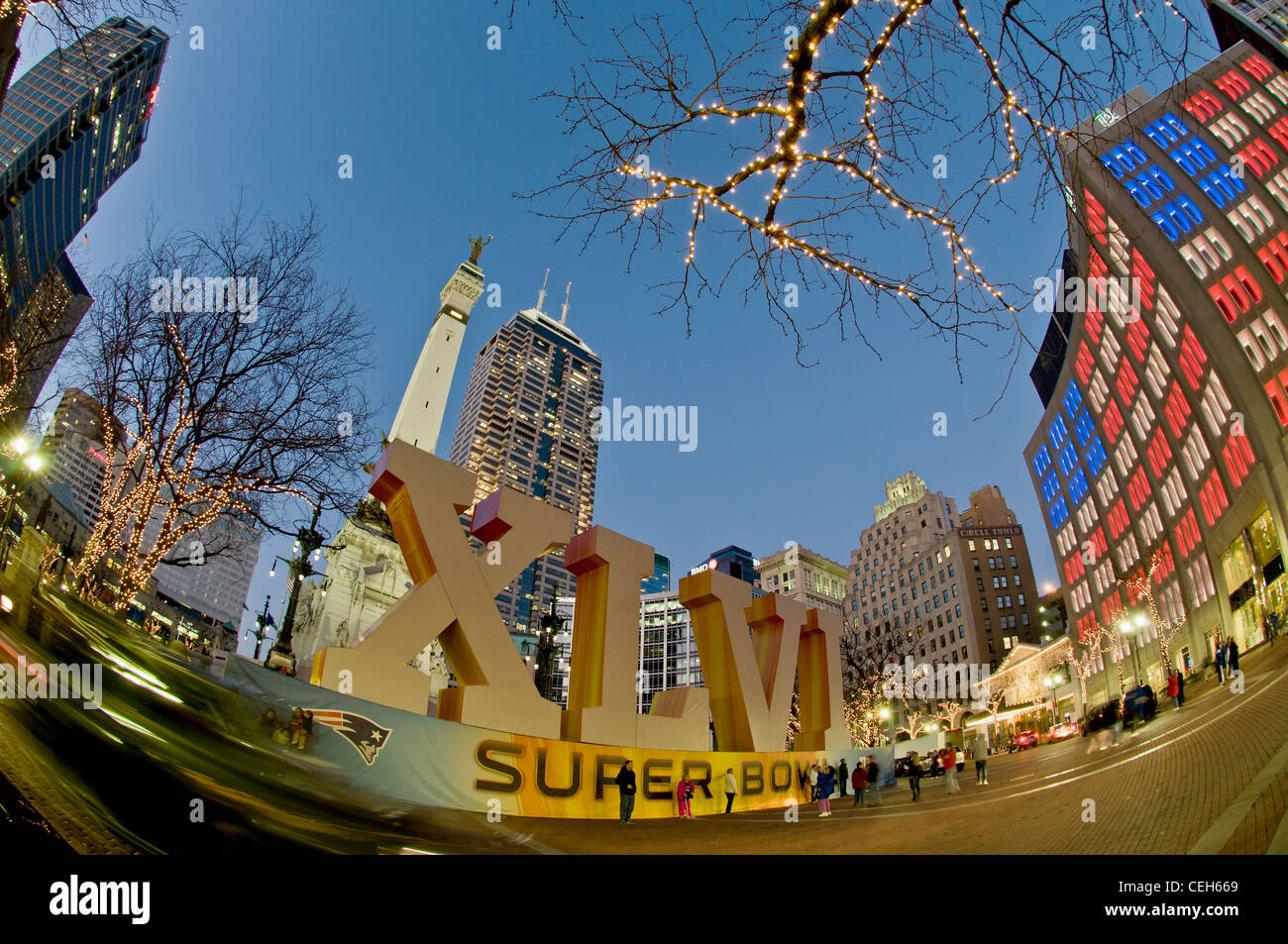Super Bowl ,Roman Numeral, Downtown Indianapolis, Indiana, Monument Circle, Fish eye Lens , Night Lights - Stock Image