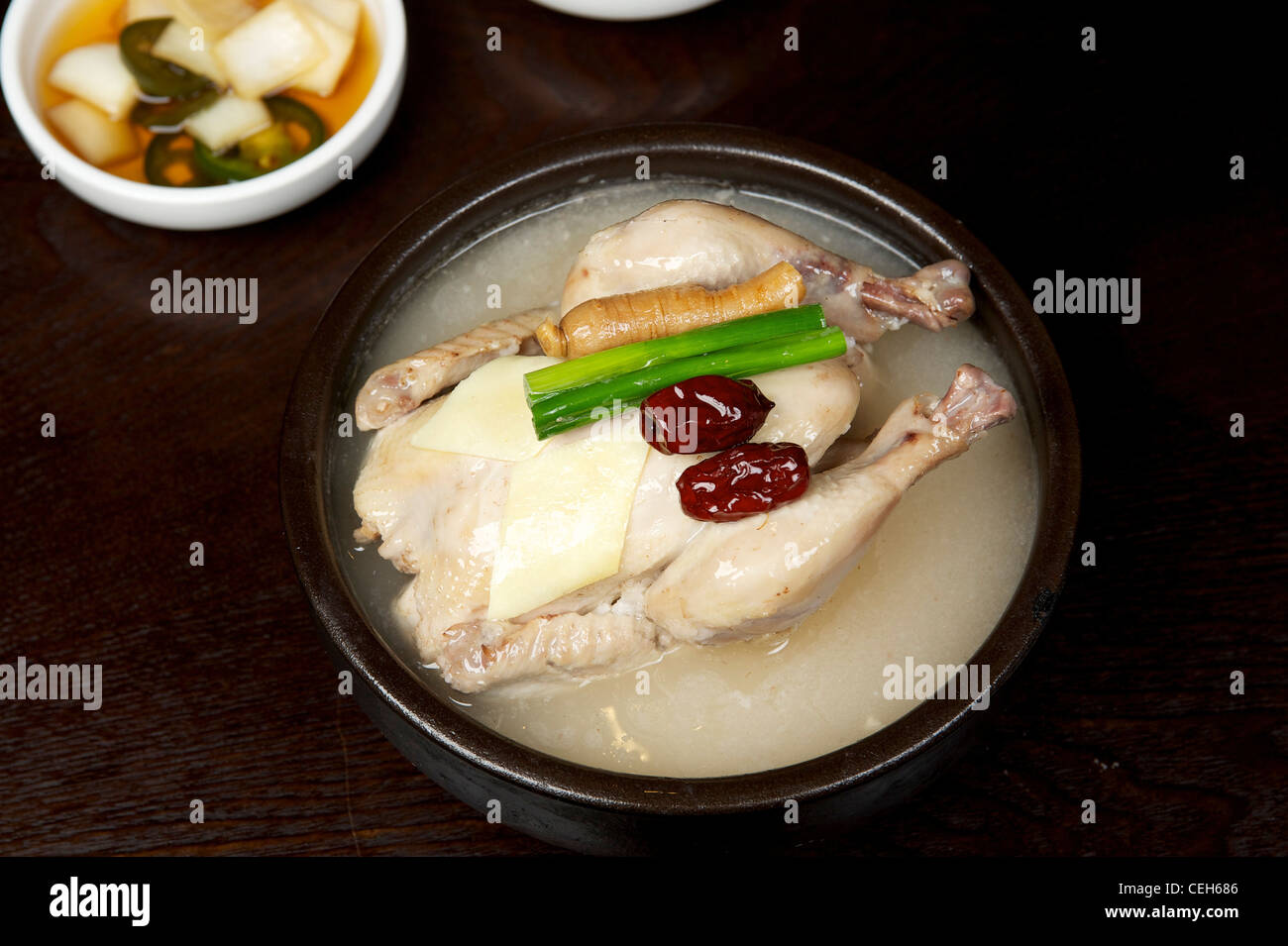 Korean Chicken soup with whole chicken - Stock Image