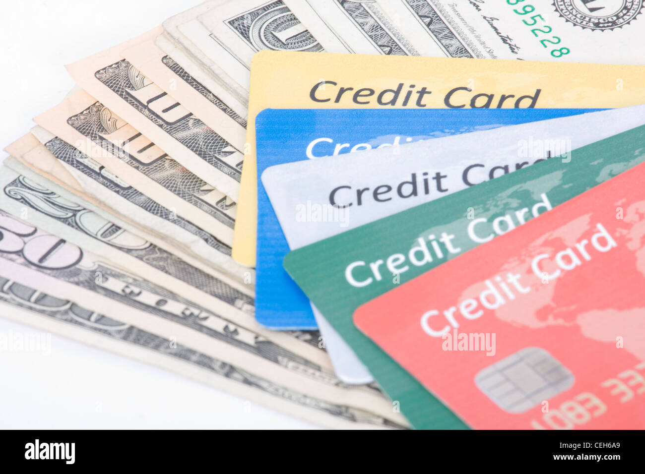 credit card and money - Stock Image