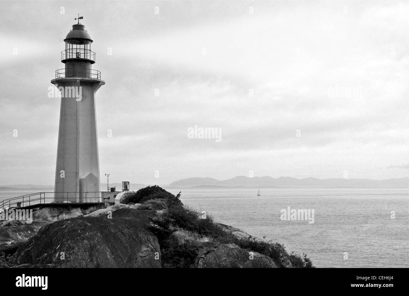 Lighthouse with Searchlight - Black and White Photo of ...