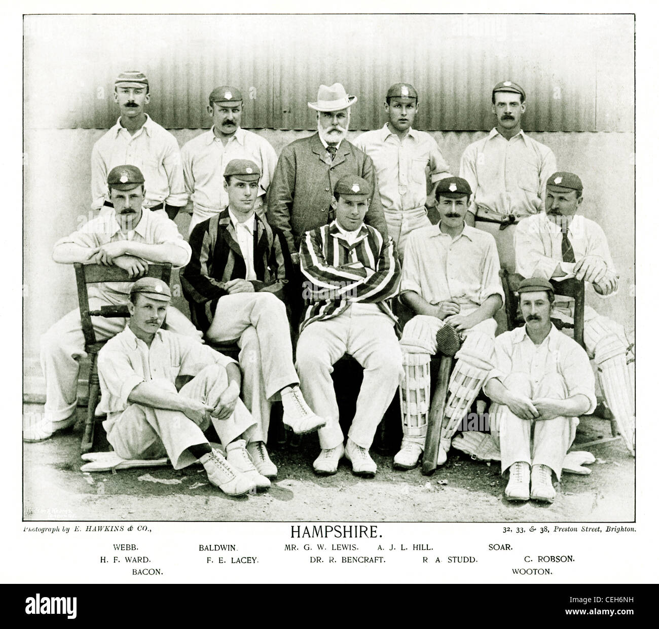Hampshire CCC, 1895 team photograph of the English County Cricket Club on its return as a first-class County to - Stock Image