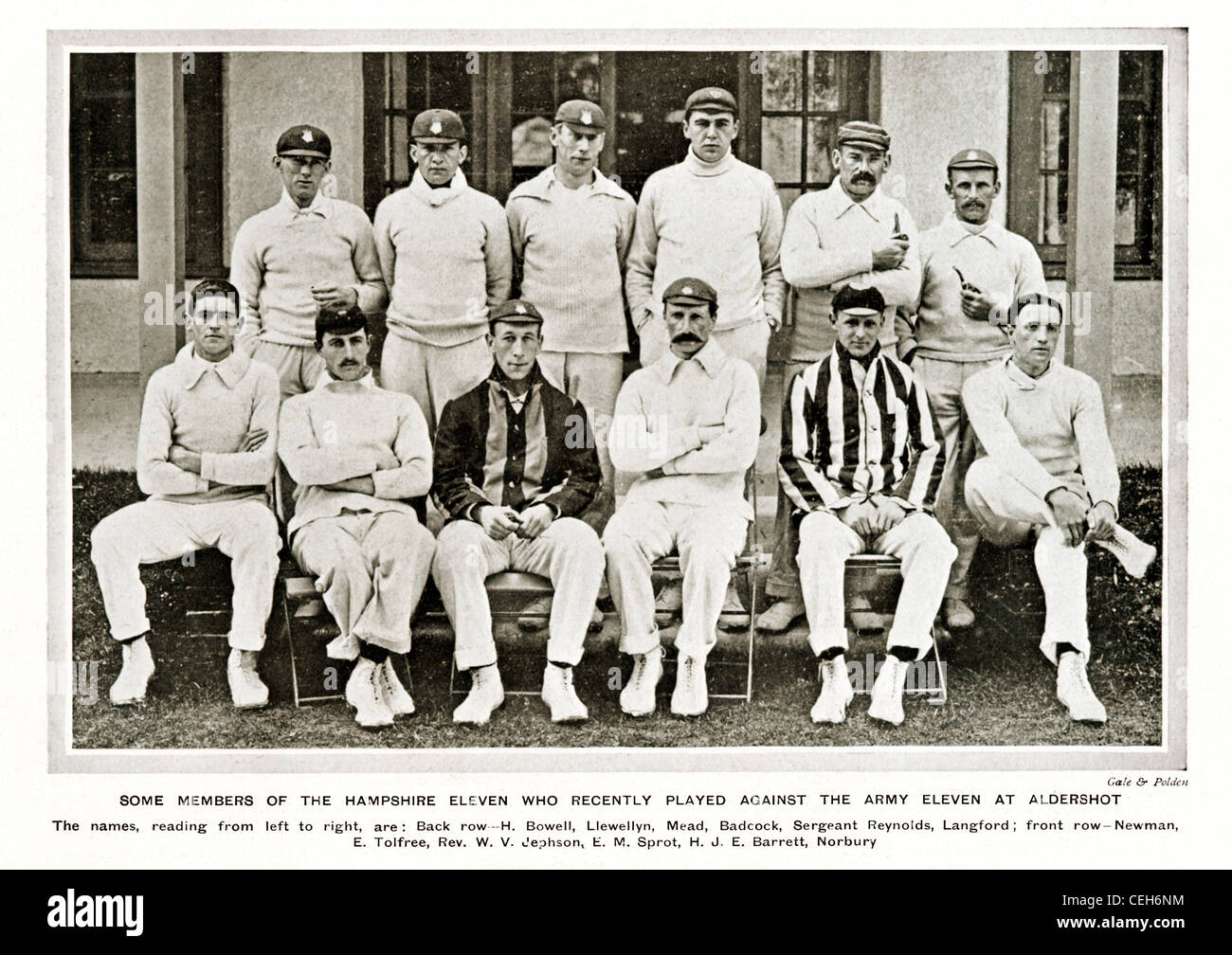 Hampshire CCC, 1906 team photograph of the English County Cricket Eleven who played against an Army Eleven at Aldershot - Stock Image