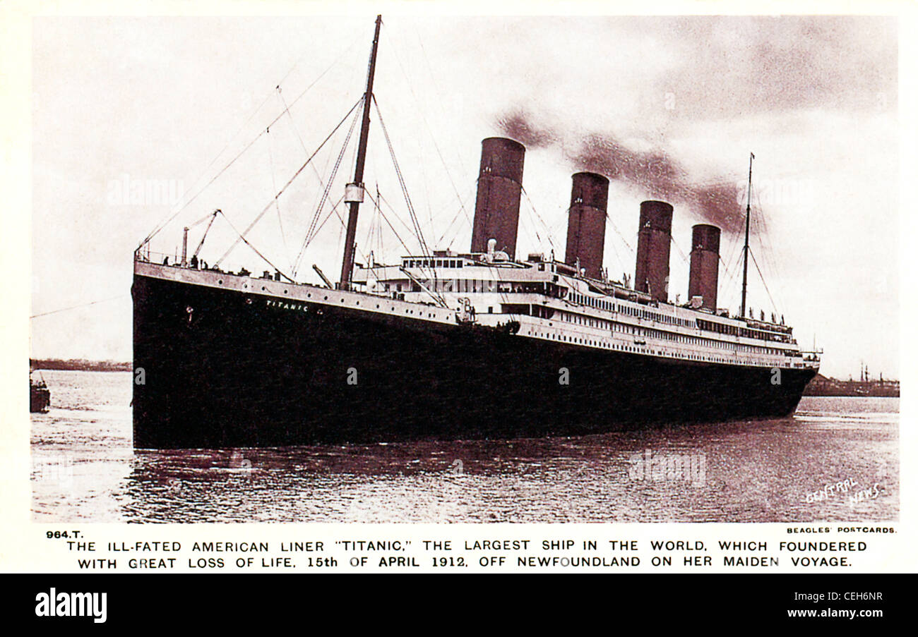 The Ill-Fated Titanic, 1912 postcard issued to mark the maritime disaster when the liner hit an Iceberg off Newfoundland - Stock Image