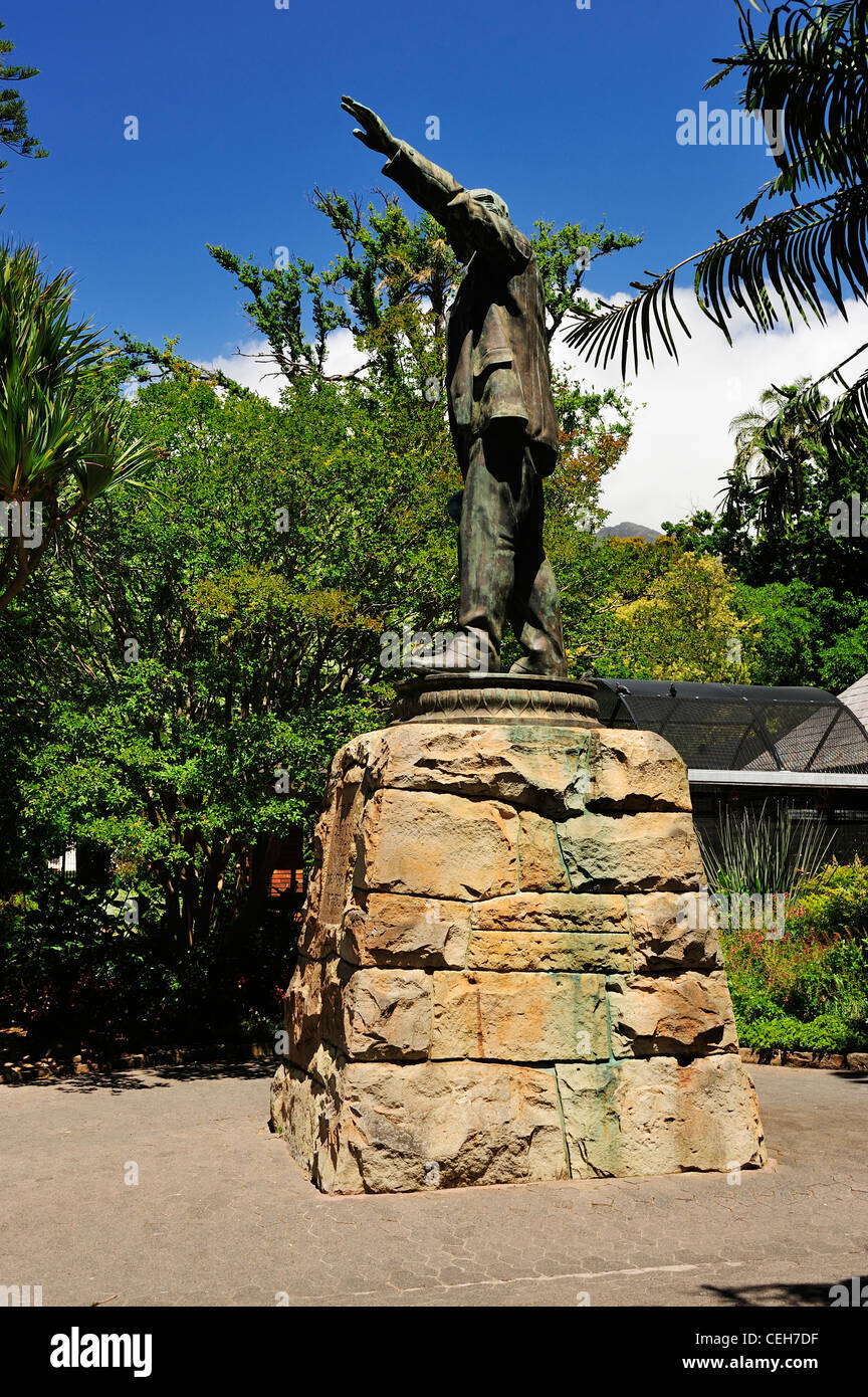 Statue of Cecil Rhodes in Company's Garden, Cape Town, Western Cape, South Africa - Stock Image