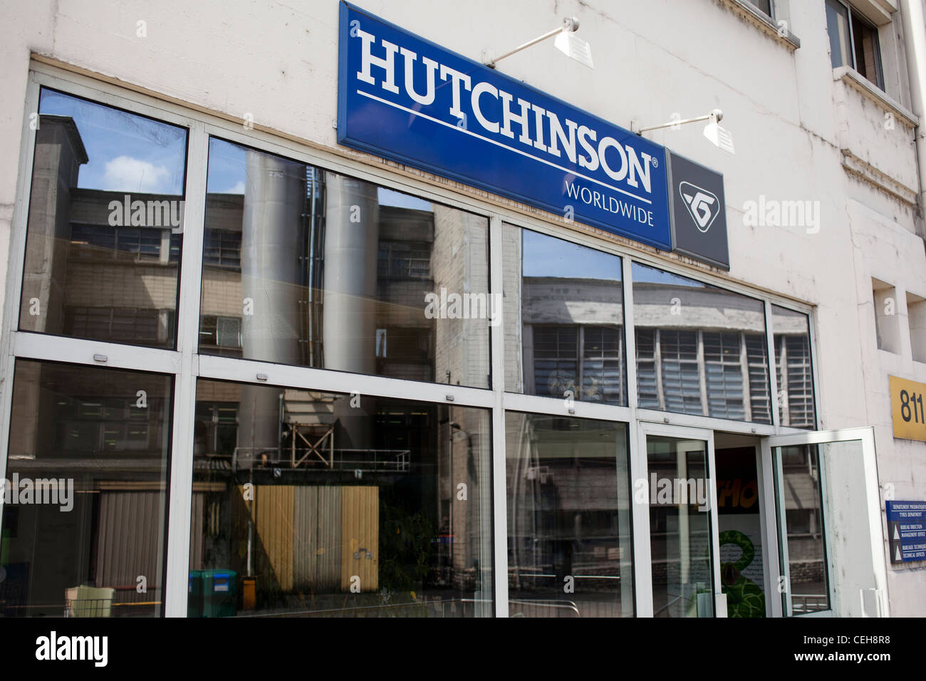 Front view of the Hutchinson tire factory - Stock Image