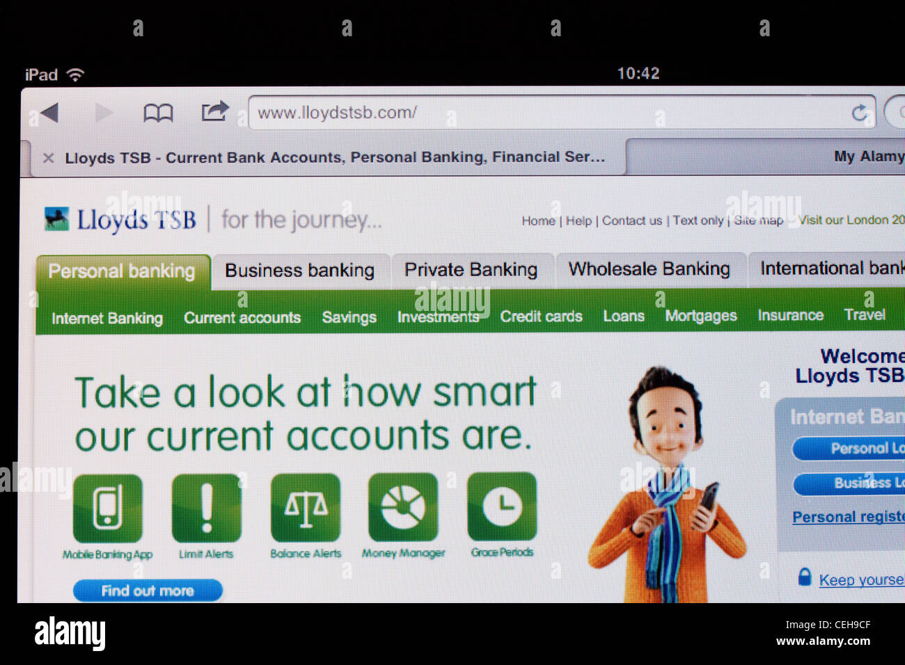 Lloyds TSB Bank website for internet banking online, on an Apple iPad 2 - Stock Image