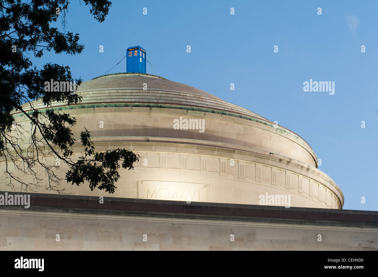 On 8/30/10, an illuminated 'Doctor Who'-style police call box ('TARDIS') appeared on MIT's Great - Stock Image