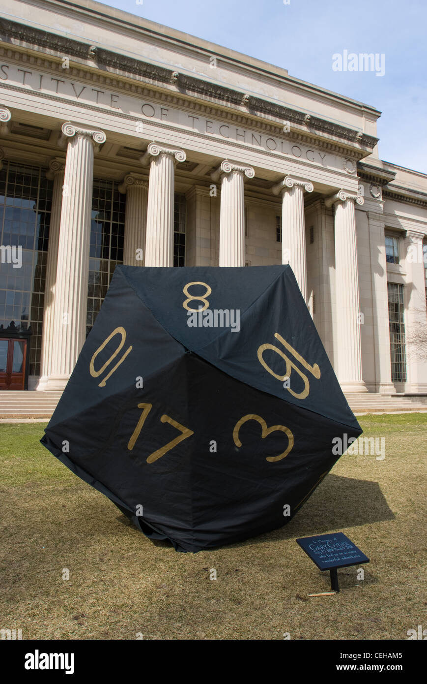 Hackers placed a 20-sided die (d20) in the Massachusetts Institute of Technology's Killian Court on Tuesday, - Stock Image